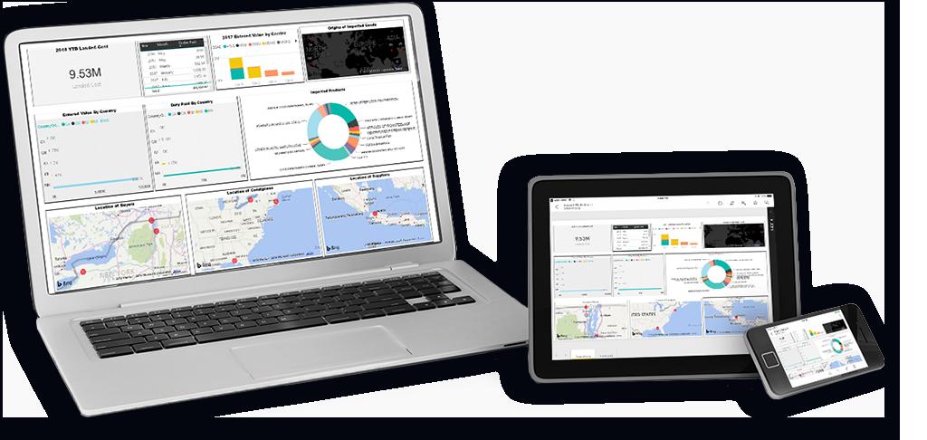 Capturas de pantalla del software ACELYNK Customs en computadoras portátiles, tabletas y teléfonos móviles